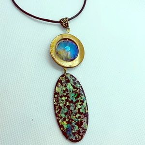 Jewelry - Long handmade wooden pendant necklace.